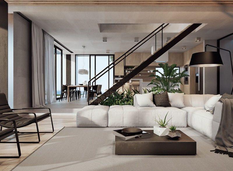 Nội thất xanh phòng khách biệt thự đơn giản