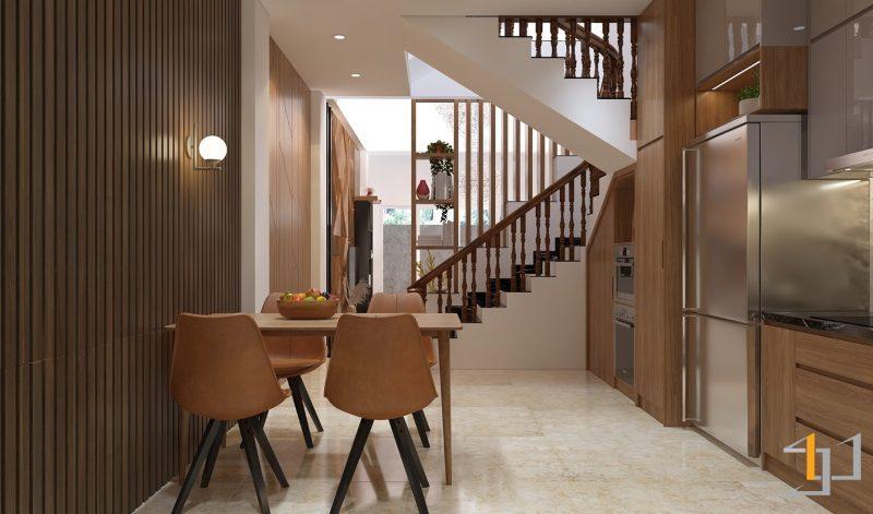 Tủ cầu thang được tận dụng để chứa thiết bị bếp và đồ khô