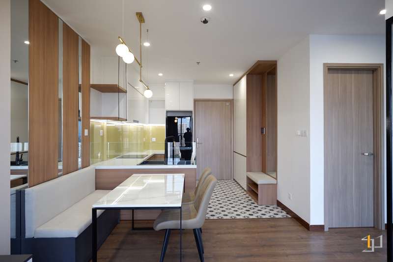 Thi công nội thất hoàn thiện phòng khách bếp