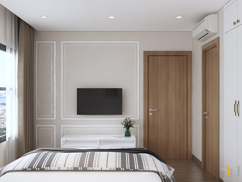 Thiết kế thi công nội thất vách Tivi phòng Master
