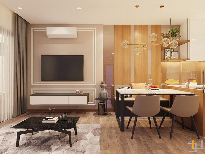 Thiết kế thi công nội thất phòng ăn và tủ Tivi