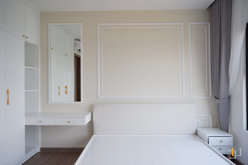 Thi công nội thất hoàn thiện giường ngủ phòng Master