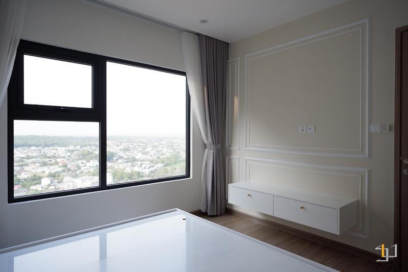 Thi công nội thất hoàn thiện tủ Tivi phòng Master