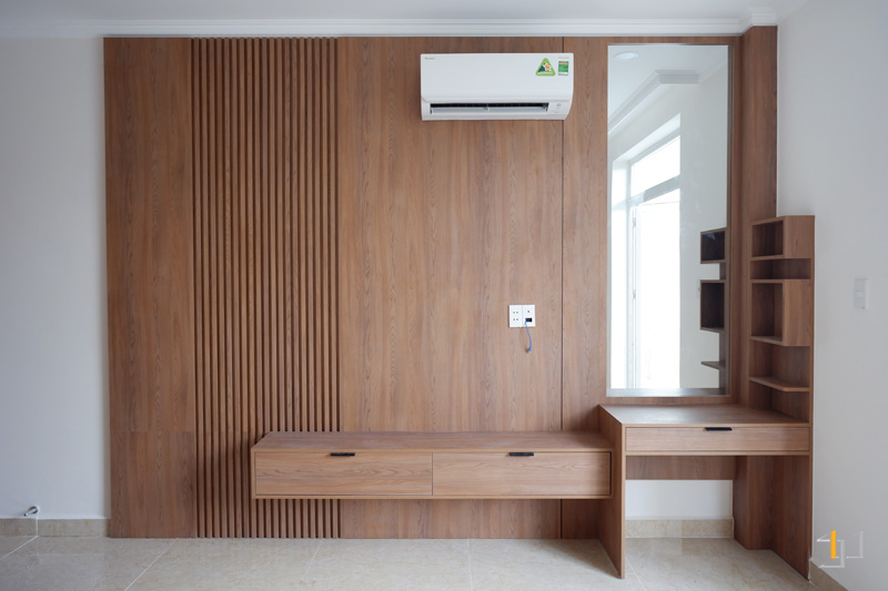 Thi công nội thất hoàn thiện vách tủ Tivi