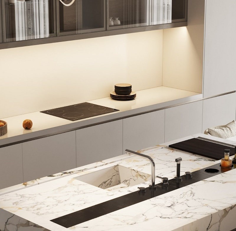 Không gian bếp đương đại sử dụng chất liệu cao cấp