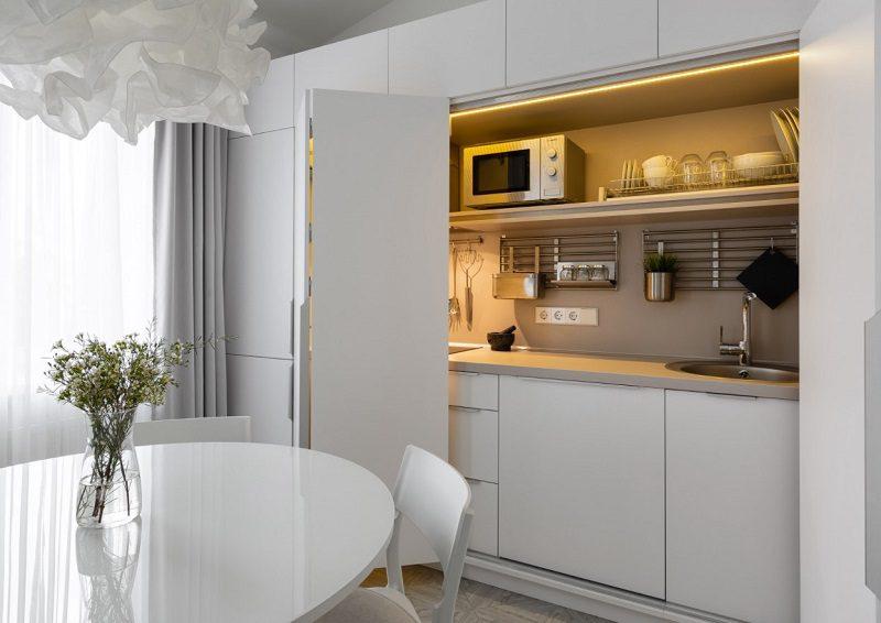 Các khu vực chức năng tiện nghi bên trong tủ bếp ẩn