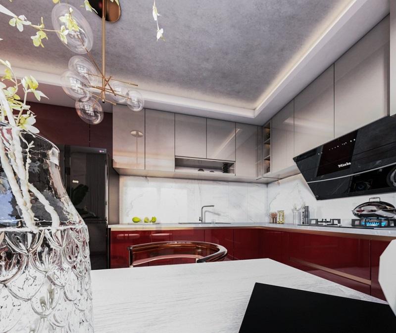 Thiết kế nội thất bếp sử dụng chất liệu Acrylic