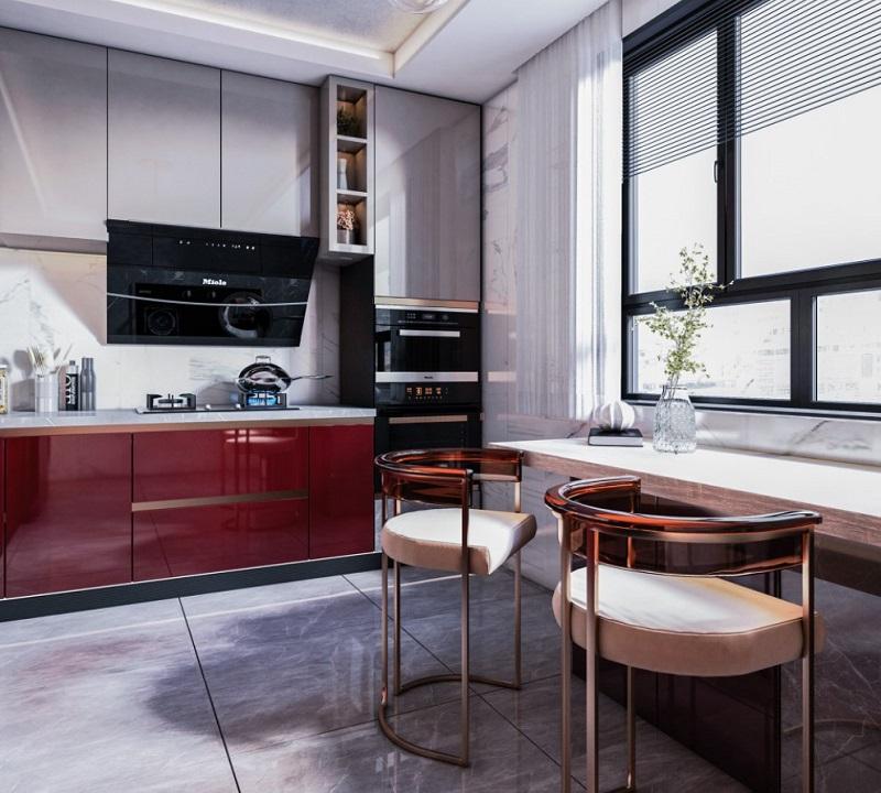 Thiết kế nội thất bếp có bàn ăn bên cạnh cửa sổ