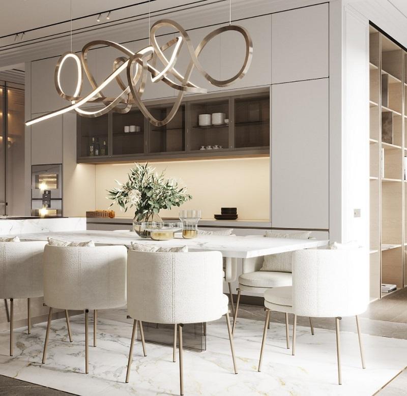 Không gian nội thất bếp tích hợp phòng ăn ấn tượng