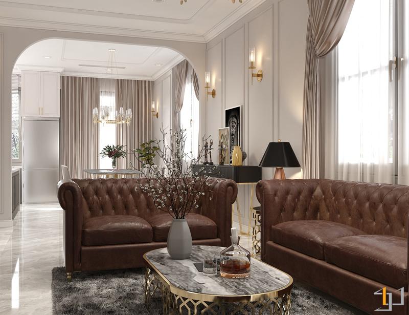 không gian phòng khách biệt thự phong cách tân cổ điển