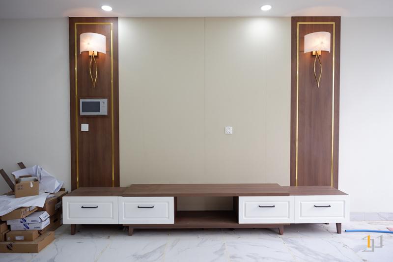 Thi công hoàn thiện nội thất phòng khách căn hộ 3PN Imperia