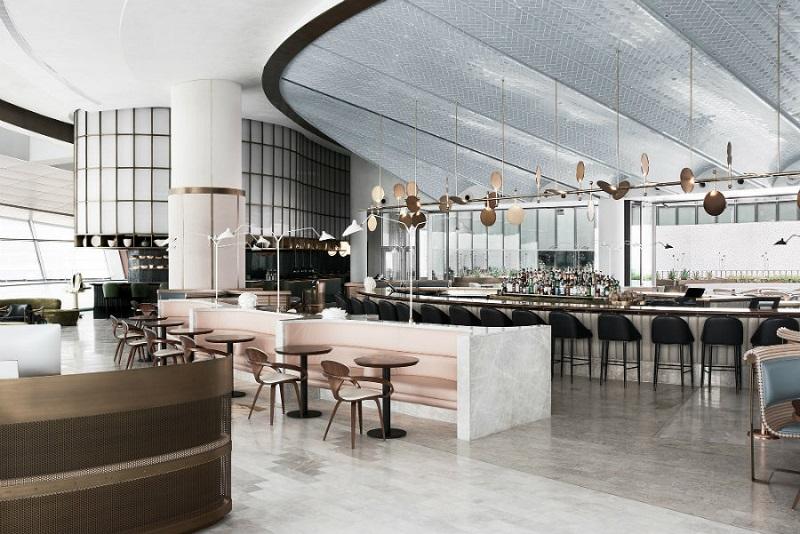 Thiết kế nội thất nhà hàng chuyên nghiệp với tiền sảnh thoáng đãng và rộng rãi