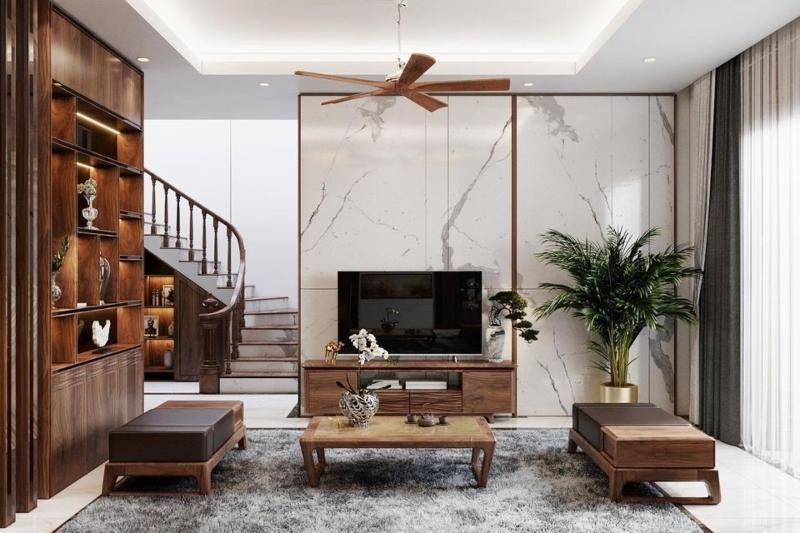 Bố trí nội thất phòng khách đẹp phong cách Tân cổ điển