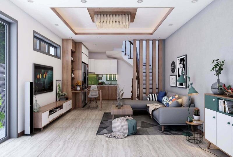 Thiết kế nội thất phòng khách bếp nhà liền kề