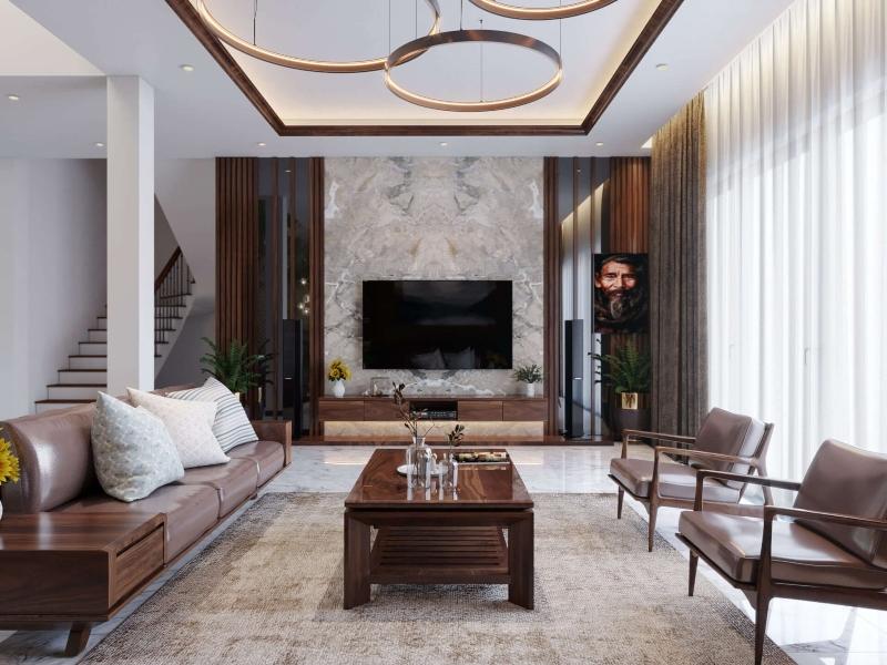 Nội thất phòng khách nhà liền kề hiện đại