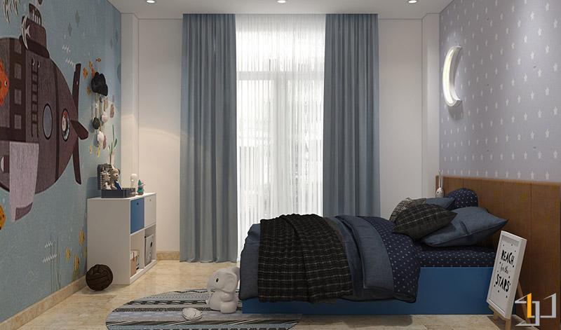 Thiết kế nội thất tủ trang trí phòng con trai