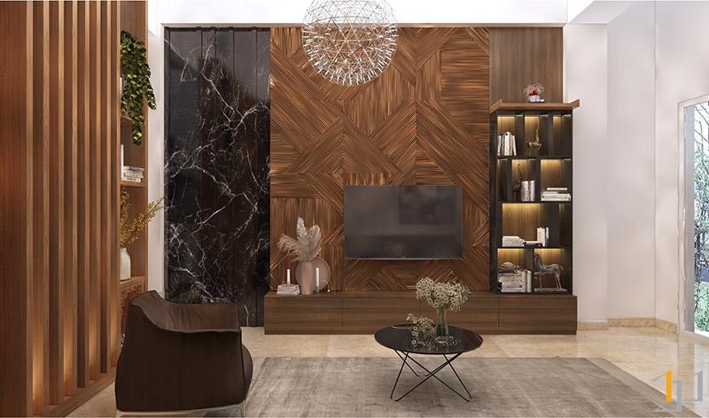 Thiết kế nội thất tủ và vách Tivi