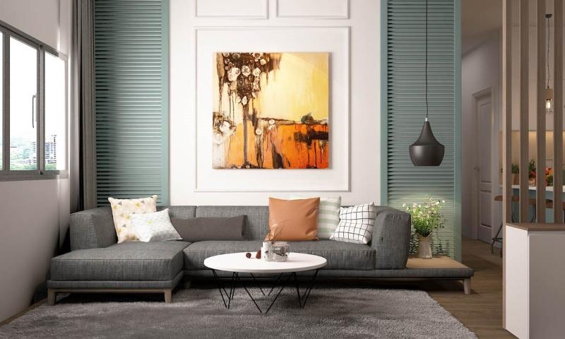 Nội thất phòng khách được bố trí theo phong khách hiện đại