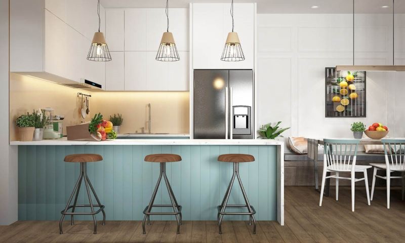Tủ bếp có quầy bar tiện lợi