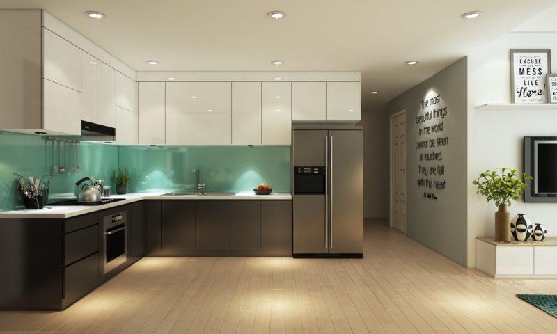 Thiết kế tủ bếp Acrylic bóng gương sang trọng