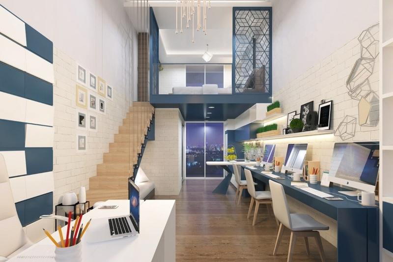 Thiết kế nội thất Officetel gồm khu làm việc và phòng ngủ