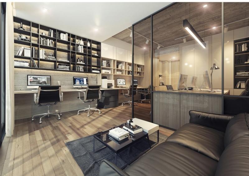 Thiết kế nội thất Officetel hiện đại tông màu trầm ấm
