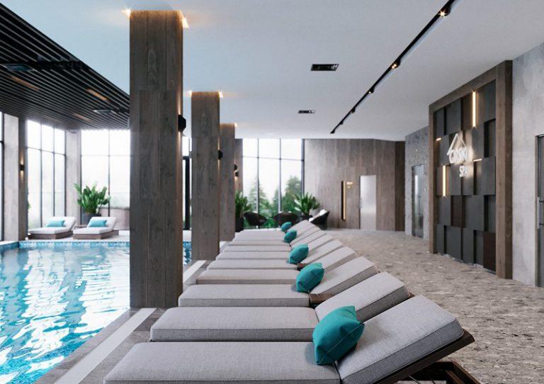 Thiết kế nội thất spa resort có hồ bơi