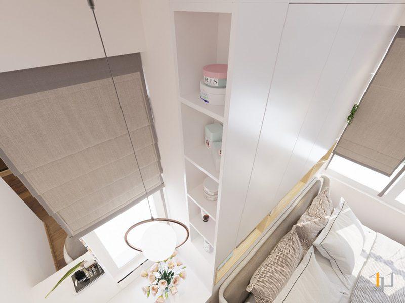 Thiết kế nội thất kệ bên hông tủ cao kịch tường