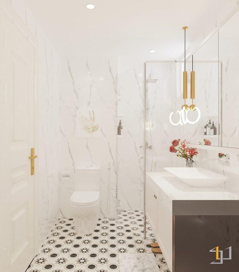 Tường toilet phòng Master bằng chất liệu đá Marble