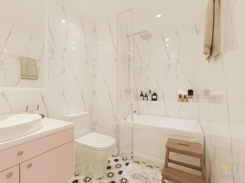Bồn tắm được bố trí hợp lý và sạch sẽ