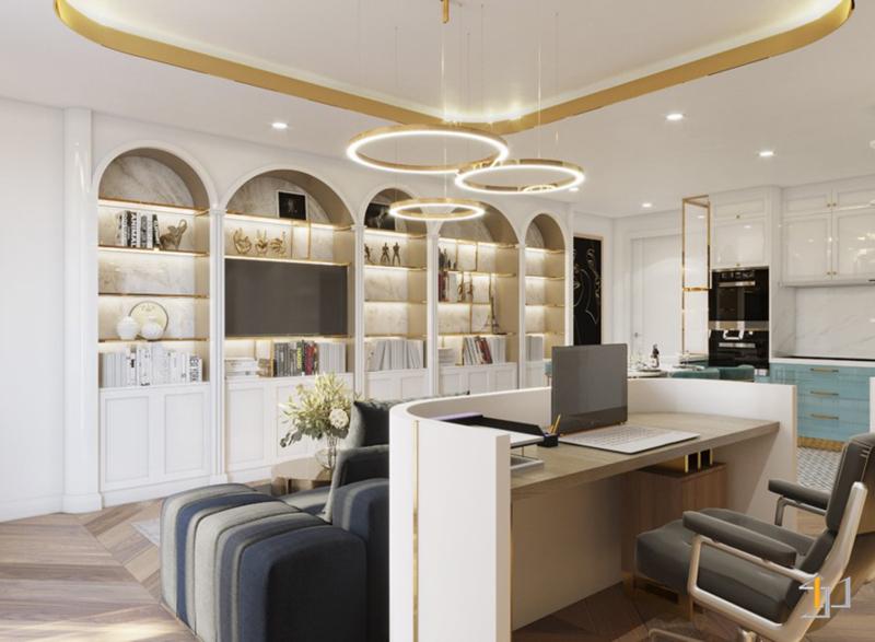 Thiết kế nội thất vách Tivi phòng khách