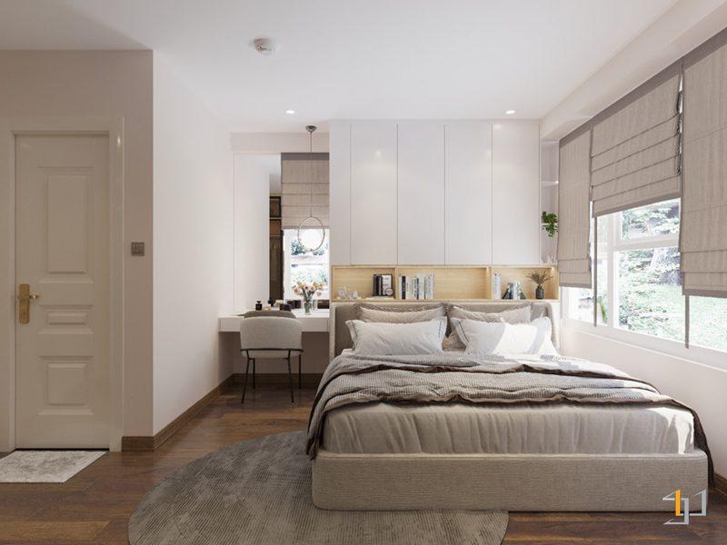 Thiết kế nội thất bàn trang điểm và giường ngủ
