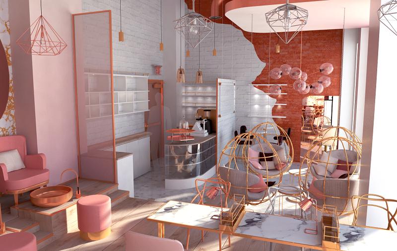 Thiết kế nội thất tiệm nail kết hợp coffeeshop