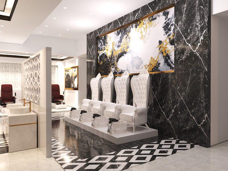 Thiết kế nội thất tiệm nail sử dụng ghế cổ điển