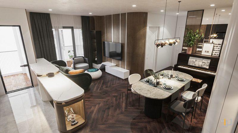 Thiết kế nội thất không gian phòng khách bếp