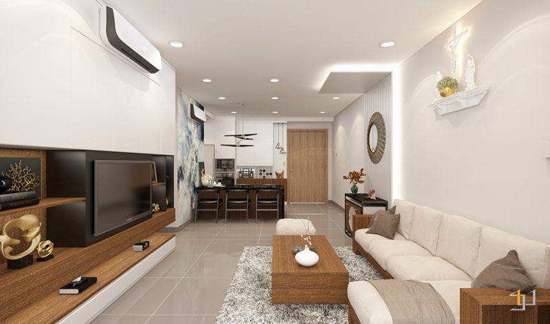 Thiết kế nội thất tổng thể phòng khách căn hộ