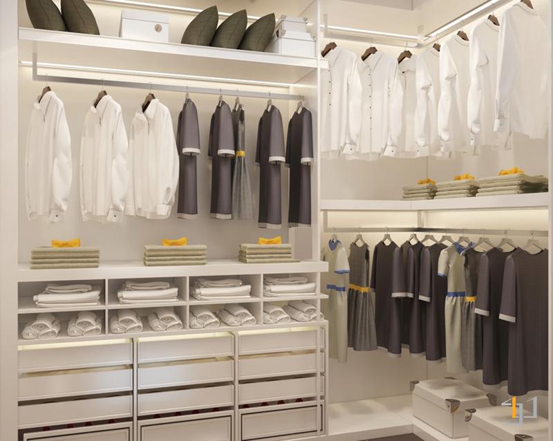 Phòng quần áo được bố trí ngăn nắp