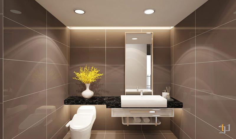 Phòng vệ sinh được ốp gạch chống ẩm hiện đại