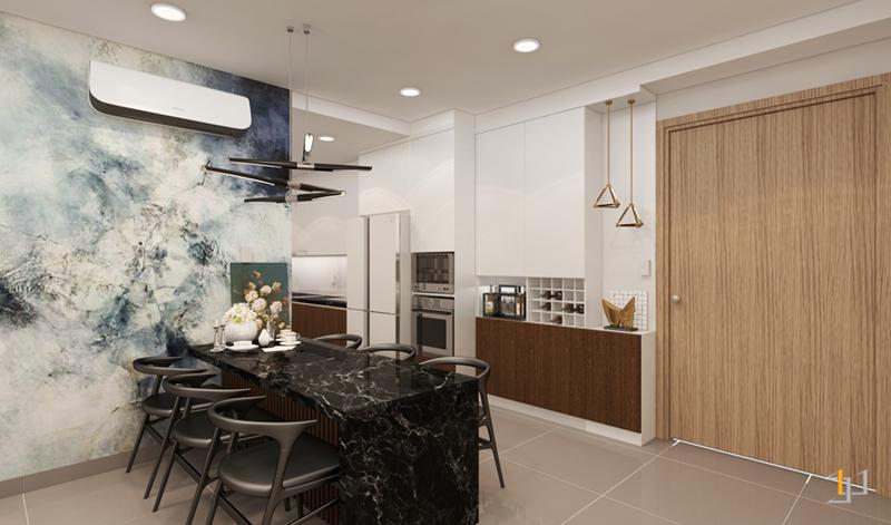 Thiết kế nội thất phòng ăn trong căn hộ
