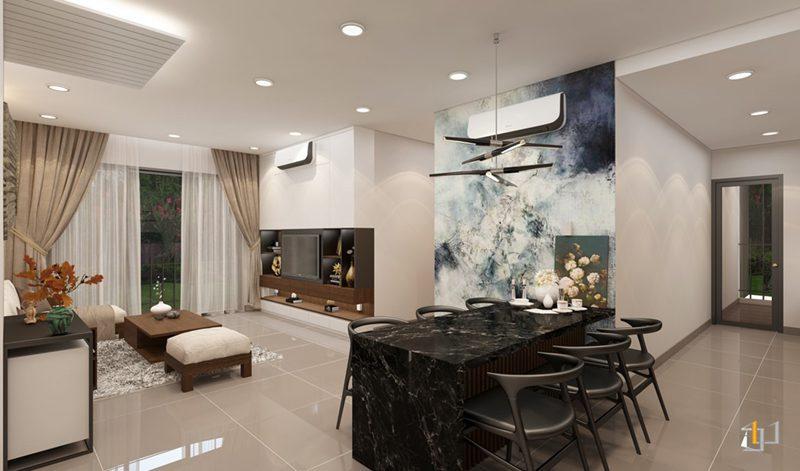 Thiết kế nội thất không gian mở phòng khách và phòng ăn