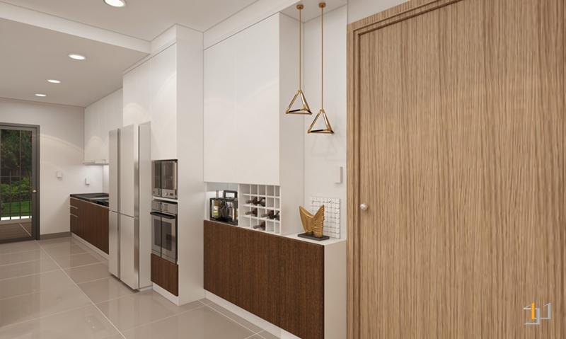 Thiết kế nội thất tủ giày bên cạnh cửa chính căn hộ