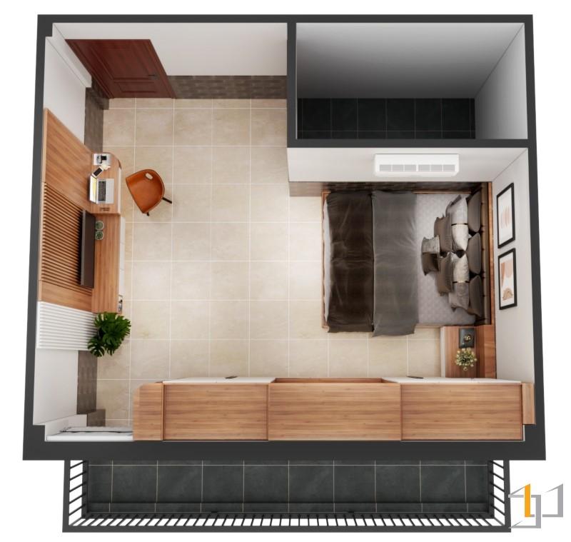 Mặt bằng bố trí nội thất phòng ngủ nhà phố