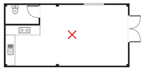 Không bố trí bếp tựa vào nhà vệ sinh