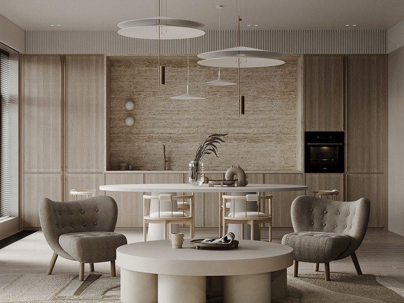 Thiết kế đồng bộ giữa phòng bếp, phòng khách và phòng ăn