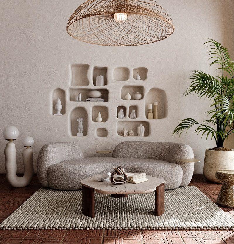Mảng màu độc đáo trang trí nội thất phòng khách tối giản