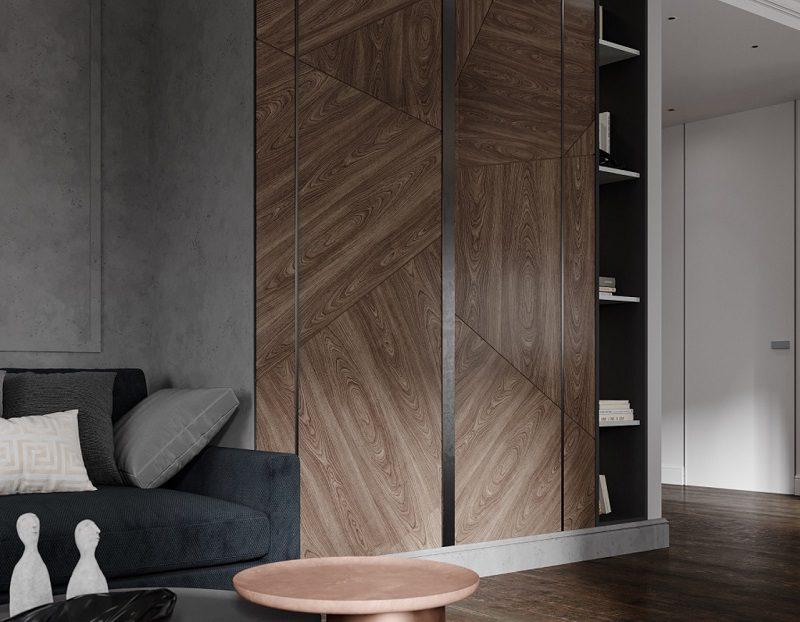 Nội thất tủ cao kịch trần trang trí phòng khách tối giản được yêu