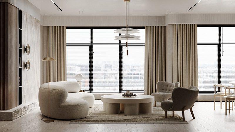 Decor trang trí nội thất phòng khách tối giản bằng ánh sáng