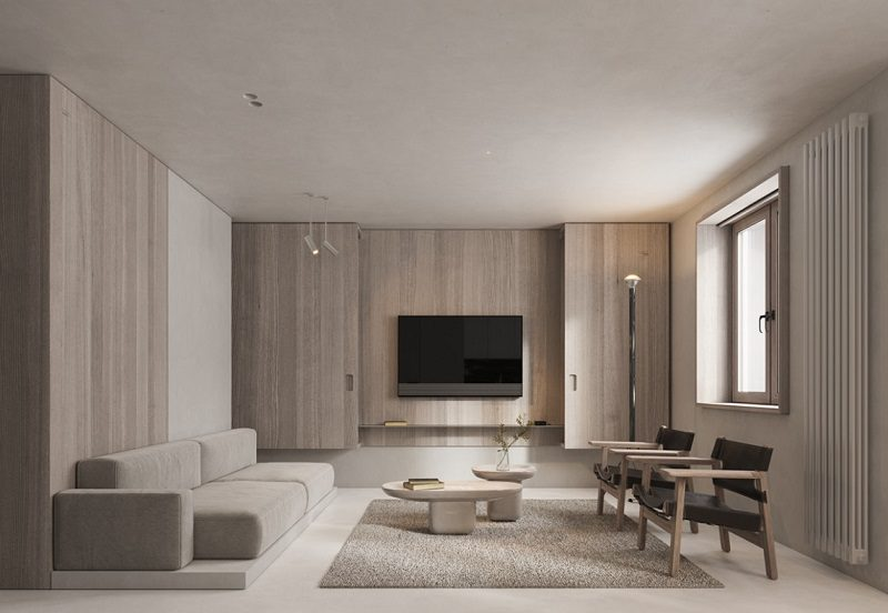 Tủ vách Tivi decor trang trí nội thất phòng khách tối giản
