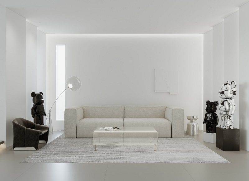 Trang trí phòng khách tối giản với gam màu trắng tinh tế