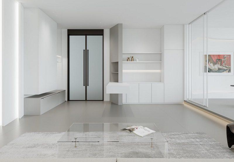 Không gian phòng khách nối liền phòng bếp